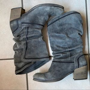 Grey slouchy distressed boots